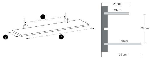 1.Avstand mellom lister 2.Dybde fra vegg 3.Bredde på hyllen